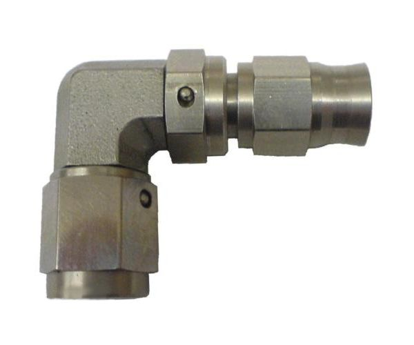 Zakončovací adaptér koleno 90 ° M10 x 1,0 na hadicu D-03 (AN3) - samice - nerezový Torques