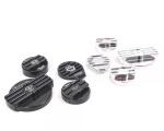 Set krytů víček na olej, vodu, brzdy, ostřikovače Forge Motorsport VAG 2.0 TFSi (14-) - černé/leštěný hliník