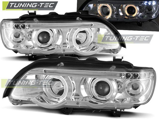 Predné svetlá BMW X5 E53 09/99-10/03 Angel Eyes chrom TUNINGTEC