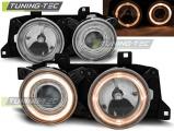 Predné svetlá BMW E32/E34 Angel Eyes chrom
