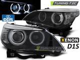 Predné svetlá BMW E60/E61 05-07 D1S angel Eyes CCFL černá xenon