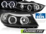 Predné svetlá BMW E90/E91 03/05/08/08 Angel Eyes CCFL černá