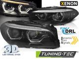 Predné svetlá BMW F10/F11 10-13 Angel Eyes led DRL černá SEQ xenon