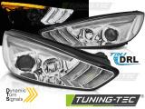 Predné svetlá Ford Focus MK3 15-18 chrom DRL led SEQ
