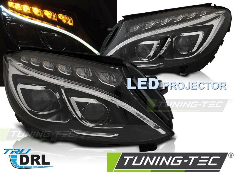 Predné svetlá Mercedes W205 14-18 TRUE DRL černá TUNINGTEC
