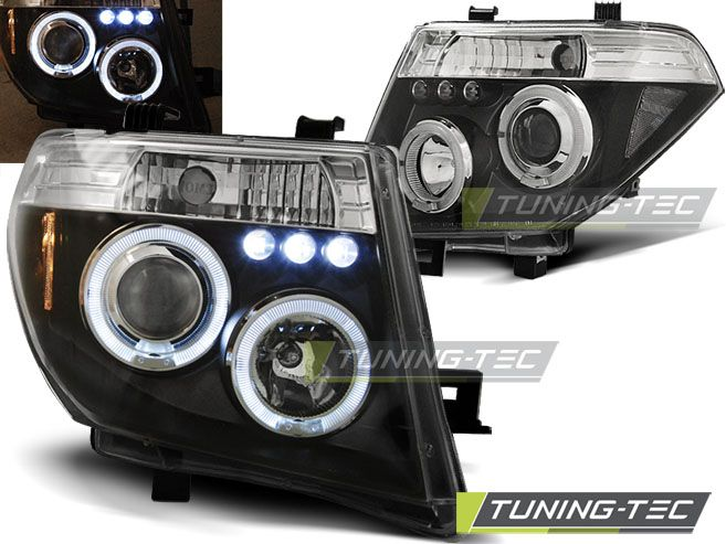 Predné svetlá Nissan Navara D40/Pathfinder 05-10 Angel Eyes černá TUNINGTEC