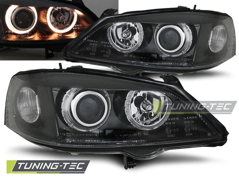 Predné svetlá Opel Astra G 09/97-02/04 Angel Eyes černá TUNINGTEC
