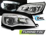 Predné svetlá Opel Astra J 10-12 chrom TRU DRL