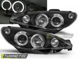 Predné svetlá Peugeot 206 10/98-02 Angel Eyes černá