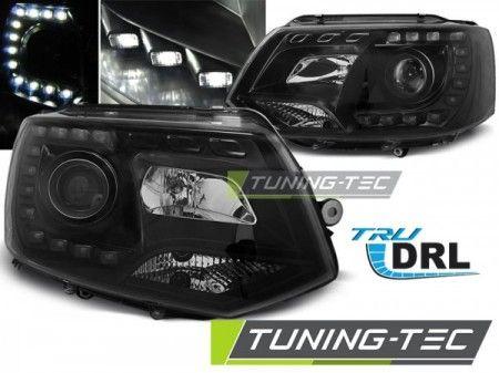 Predné svetlá VW T5 2010-2015 TRUE DRL černá TUNINGTEC