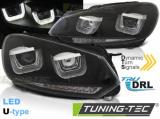 Predné svetlá VW Golf 6 08-12 Led DRL černá SEQ