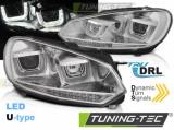 Predné svetlá VW Golf 6 08-12 Led DRL chrom SEQ