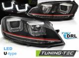 Predné svetlá VW Golf 7 11/12-17 Led DRL černá/červená