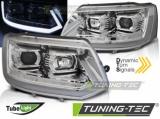 Predné svetlá VW T5 2010-15 TUBE chrom SEQ