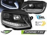 Predné svetlá VW T6 15-19 TUBE DRL černá/chrom SEQ