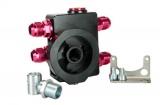 """Externí relokační držák olejového filtru ProRacing M20 x 1,5 a 3/4""""-16UNF s termostatem (D-10)"""