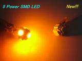 LED parkovacie svetlá 5x Power SMD 168/194 / T10 / W5W oranžová