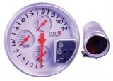 Prídavný budík Type-R - tachometer (125mm) sa shift Lightem 4in1 - biely panel