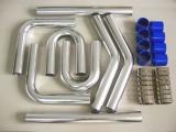 Univerzální set hadic a trubek pro intercooler -  63,5mm - modrý