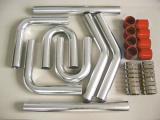Univerzální set hadic a trubek pro intercooler -  63,5mm - červený
