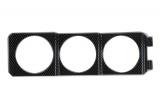 Držiak 1DIN do šachty autorádia Ra pre 3 prídavné budíky 52mm - karbón look