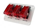 Štartovací panel hliníkový - 3x prepínač kill switch